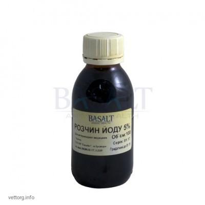 Раствор йода 5%, 100 мл. (Базальт)