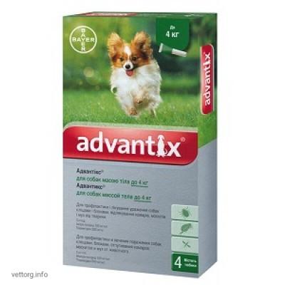 Адвантикс для собак до 4 кг, 0,4 мл. № 4 (Bayer)