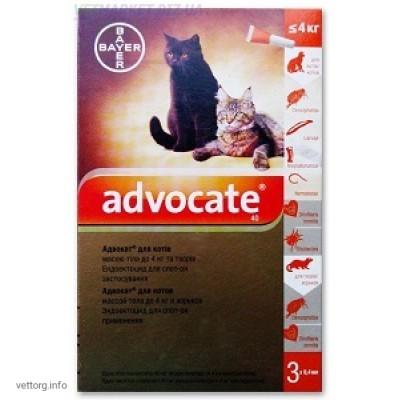 Адвокат для котов до 4 кг, 0,4 мл. № 3 (Bayer)
