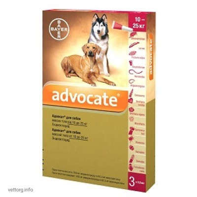 Адвокат для собак 10-25 кг, 2,5 мл № 3 (Bayer)
