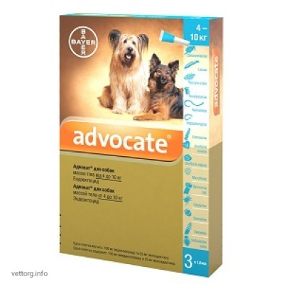 Адвокат для собак 4-10 кг, 1 мл. № 3 (Bayer)